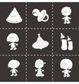 Black baby icons set vector