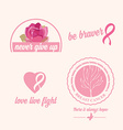 Breast cancer set of stickers pink ribbon icon vector