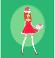 Beautiful pin-up girl in christmas inspired vector