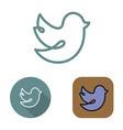 Contour social network bird icon and stickers set vector