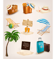 Set of vacation related icons vector