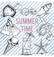 Summer retro hand drawn design set vector