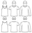 Singlet t-shirt long-sleeved t-shirt and cap vector
