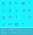 Insurance sign color icons on light blue vector