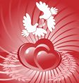 Hearts and white dove vector