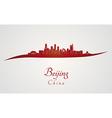 Beijing skyline in red vector