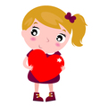 First love - cute little girl holding red heart vector