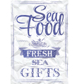 Poster sea food fresh sea gifts crumpled paper vector