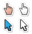 Pixel coursors icons - hand and arrow vector