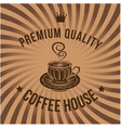 Label for coffee on background with sacking vector