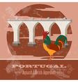 Portugal landmarks retro styled image vector