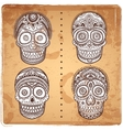 Vintage ethnic hand drawn human skulls set vector