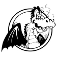 Cheerful dragon in black and white vector