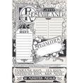 Vintage graphic page menu for restaurant vector