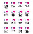 Funny love icon set vector