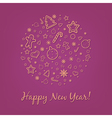 Lilac happy new year card vector