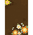 Wooden background with bees and flowers vector