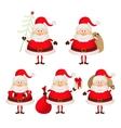 Set of cute smiling santa claus vector