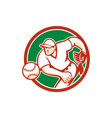 American baseball pitcher throwing ball circle vector