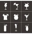 Black beverages icons set vector