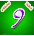 Number nine icon sign symbol chic colored sticky vector