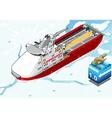 Isometric icebreaker ship breaking the ice vector