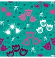 Seamless pattern with bunches of tulips on a green vector