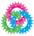 Tree colored gears vector
