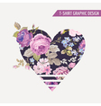 Floral heart graphic design - for t-shirt prints vector