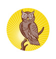 Great horned owl bird woodcut vector