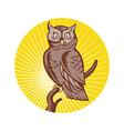 Great horned owl bird woodcut vector