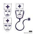 Doctors three icon faces vector