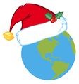 Santa hat on a earth vector
