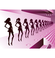 Fashion models represent new clothes on review vector