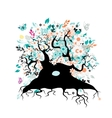 Old floral tree with roots for your design vector