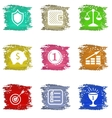 Colorful grungy icons set vector