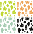 Set of seamless backgrounds with leaves vector