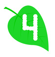 Figure four on a green leaf vector
