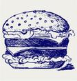 Big and tasty hamburger vector