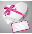Realistic blank white heart shape box with ribbon vector
