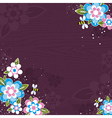Violet wooden background with bees and flowers vector