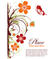 Grunge floral frame with butterfly vector
