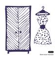 Dress and wardrobe vector