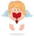 Angel and heart girl vector
