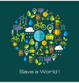 Environment and ecology banner with flat icons vector