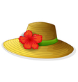 A brown fashion hat with a flower vector