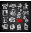 Sketch music icon element collection on black vector
