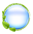 Blue ball and green leafs vector
