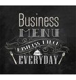 Business lunch chalk menu vector