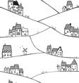Hills and houses vector